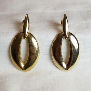 Gold Tone Oval Pierced Earrings